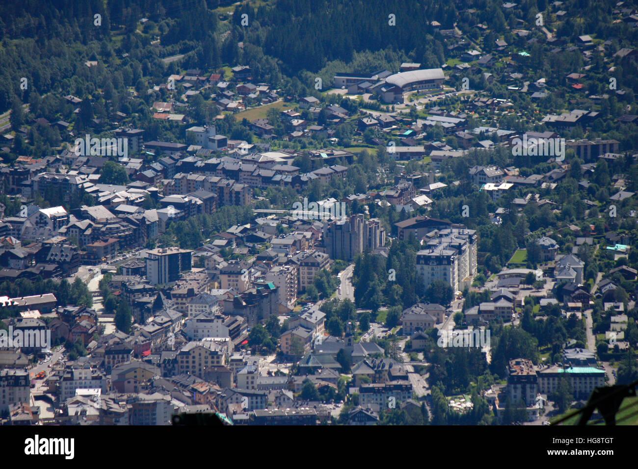 Luftbild: Chamonix, Frankreich. - Stock Image