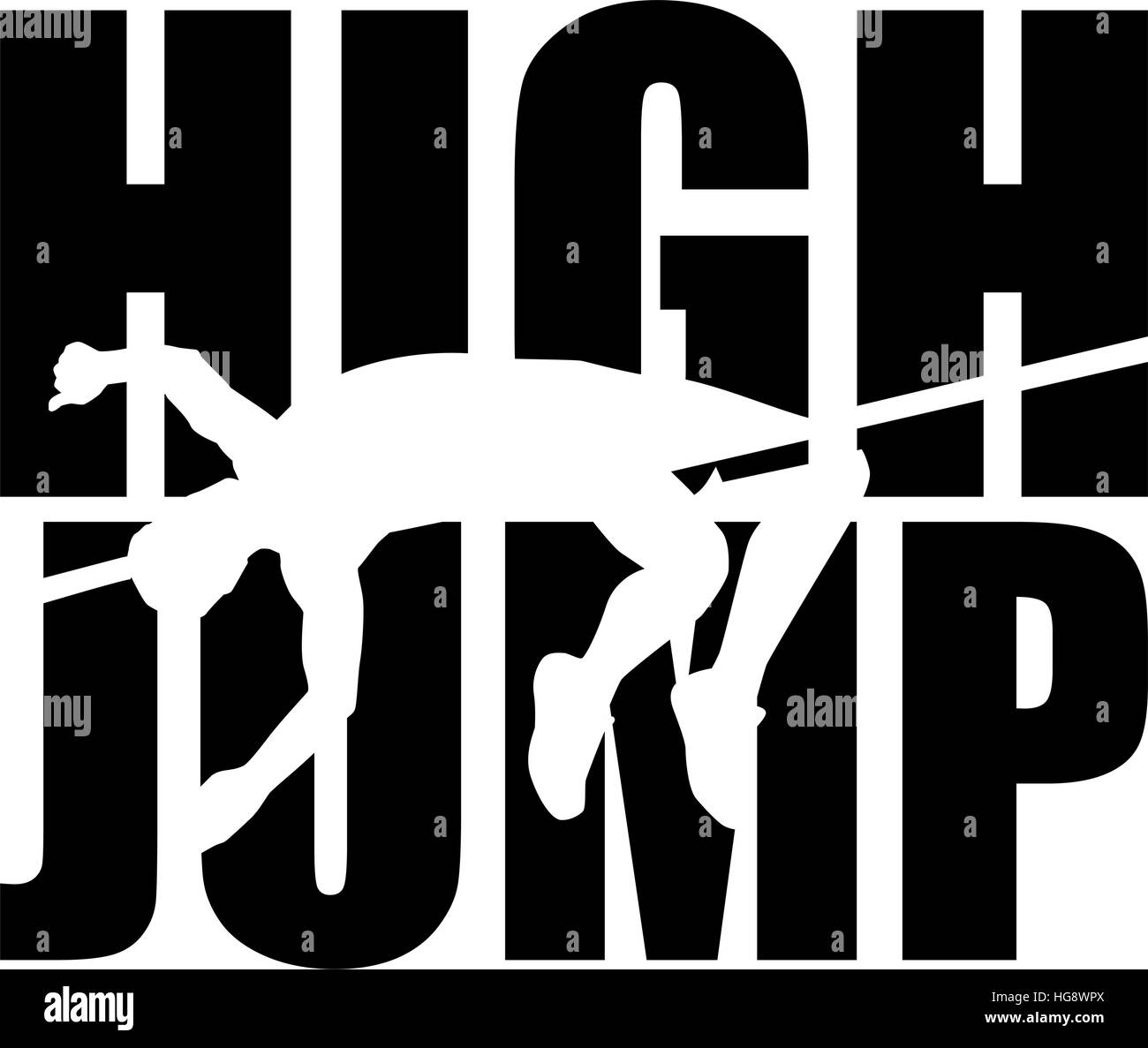 High jump word with cutout - Stock Vector
