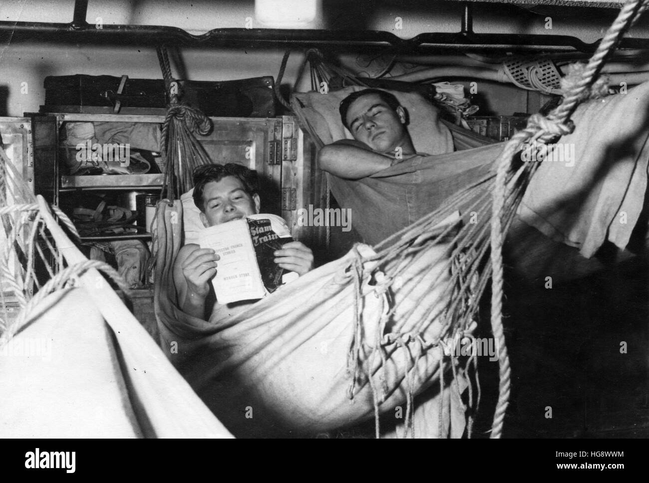 Royal Navy. Seamen in their hammocks WW2 - Stock Image