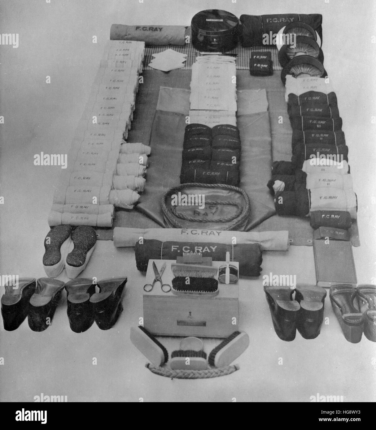 Royal Navy. Kit muster layout C.1930s - Stock Image