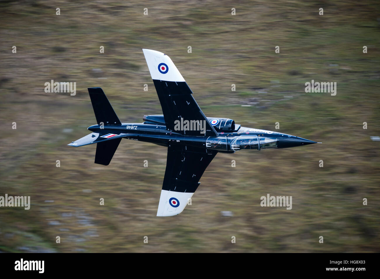 USAF F17 loew leve fling training in the mach loop wales UK - Stock Image