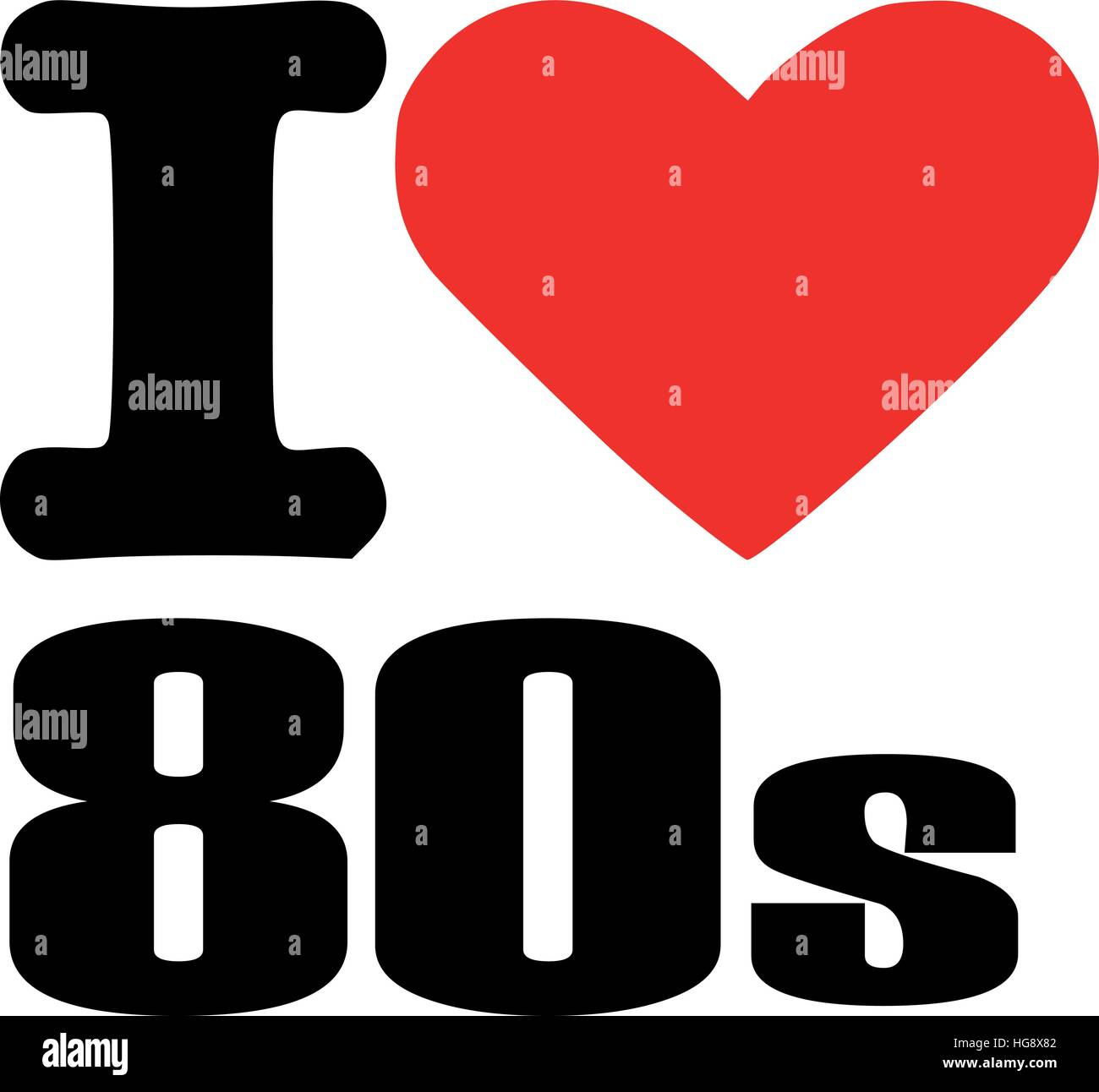 I love eighties - Stock Vector