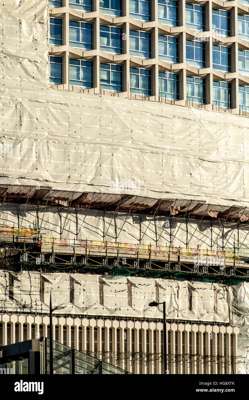London's iconic building Centre Point being refurbished. Vertical perspective corrected. - Stock Image