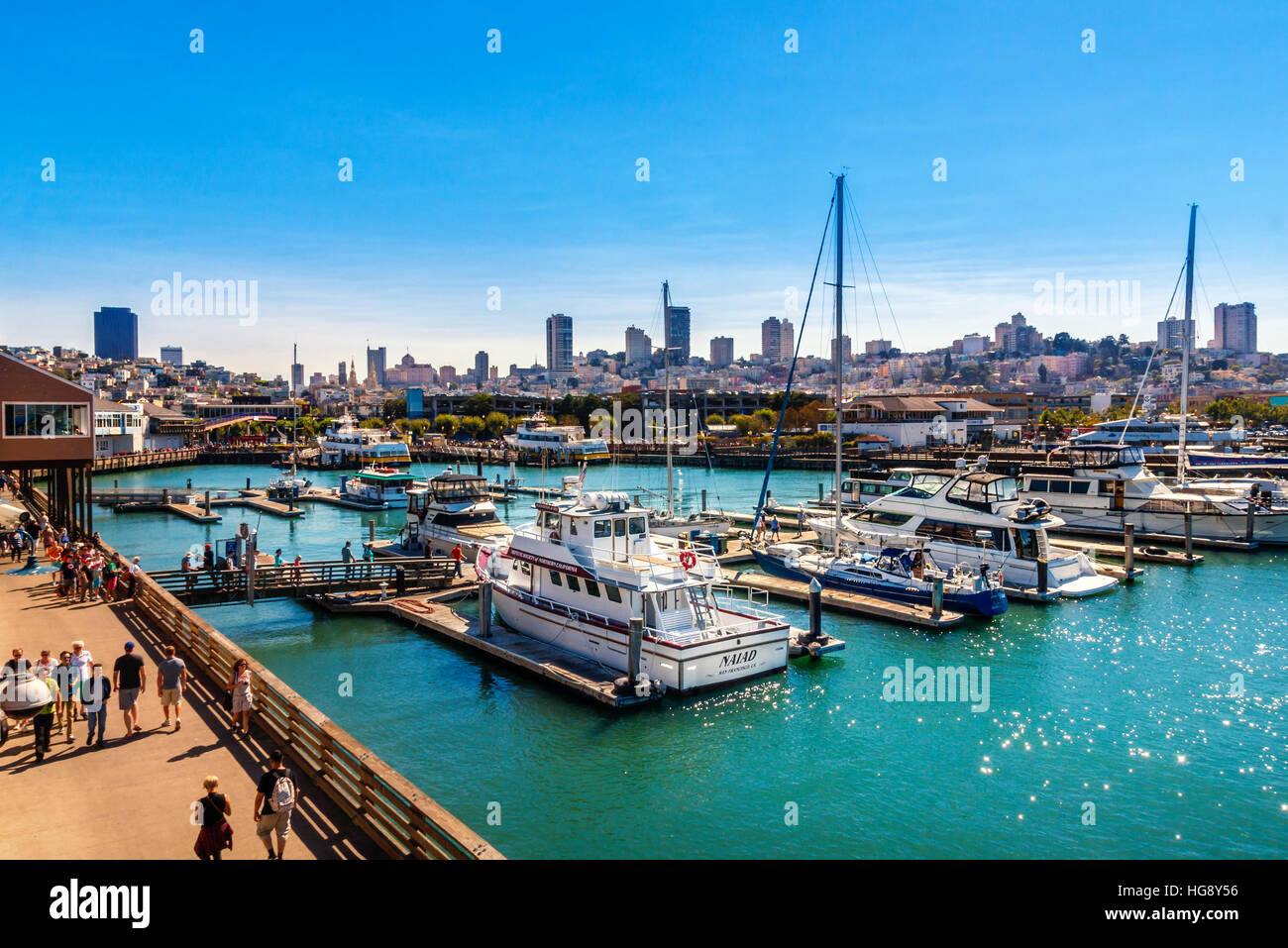 SAN FRANCISCO, CA - SEPTEMBER 20, 2015: Yachts docked at Pier 39 Marina in San Francisco with city skyline in background. - Stock Image