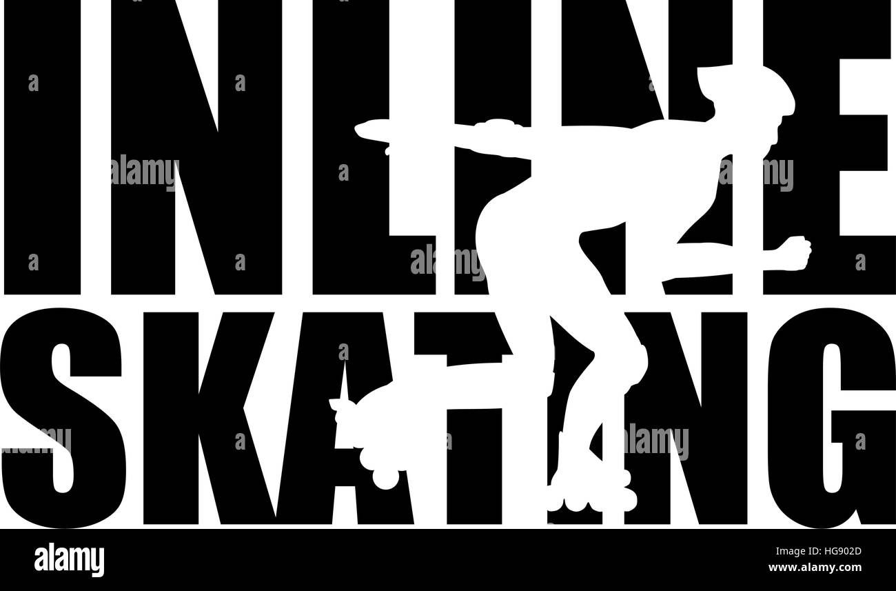Inline Skating word with silhouette cutout Stock Vector