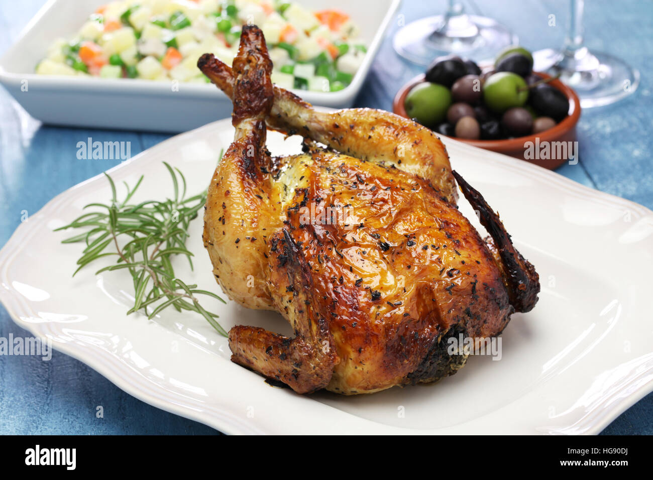 roast chicken, whole roasted chicken - Stock Image