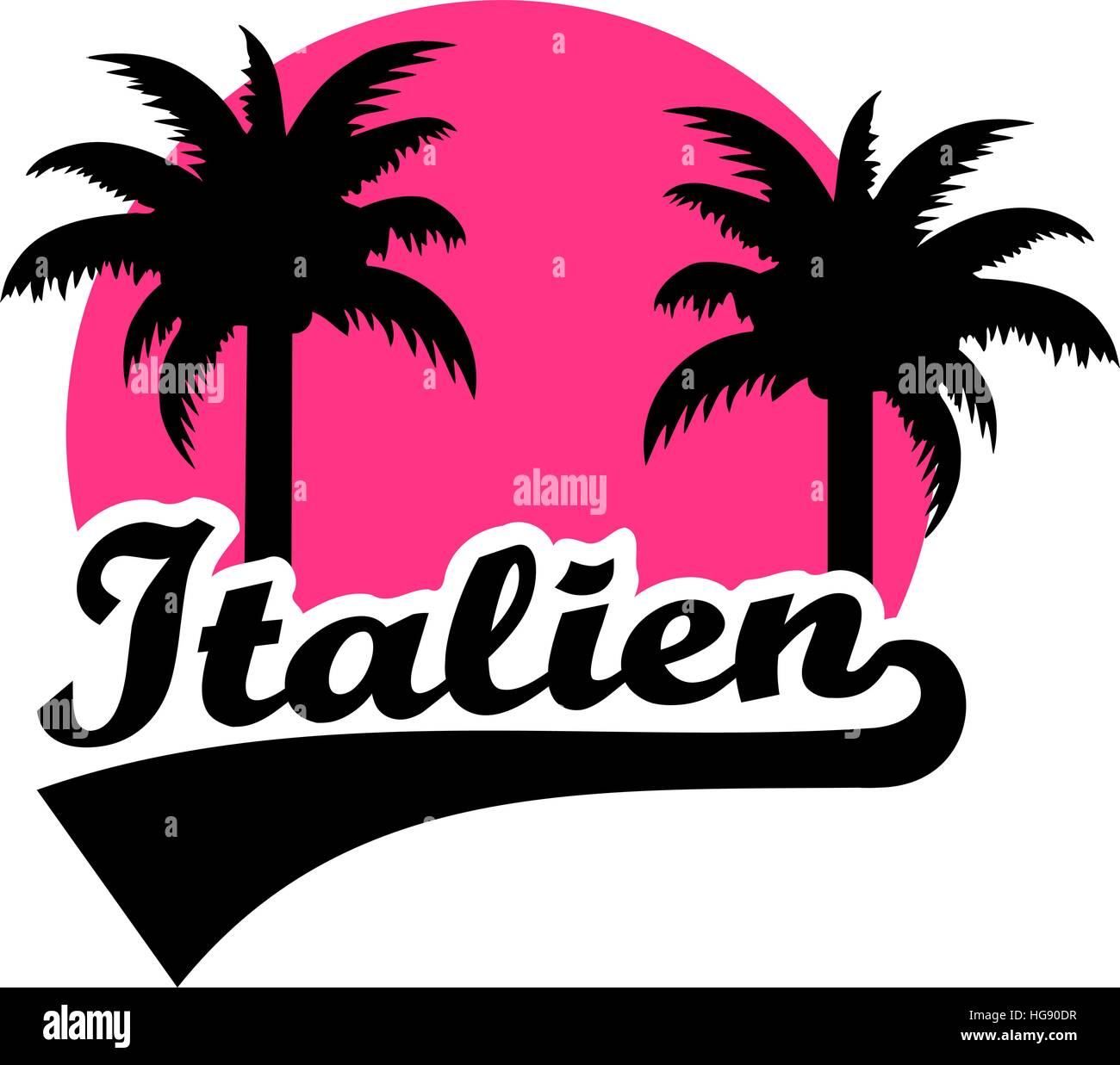 Italy with palm and pink sun. German. - Stock Vector