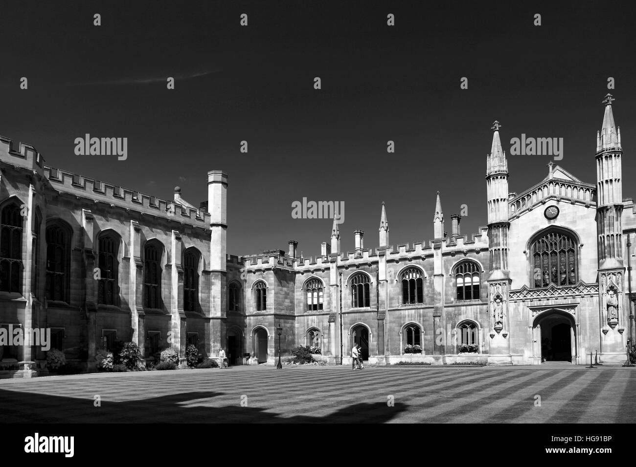An exterior view of Corpus Christi College a University college, Cambridge City, Cambridgeshire, England, UK - Stock Image