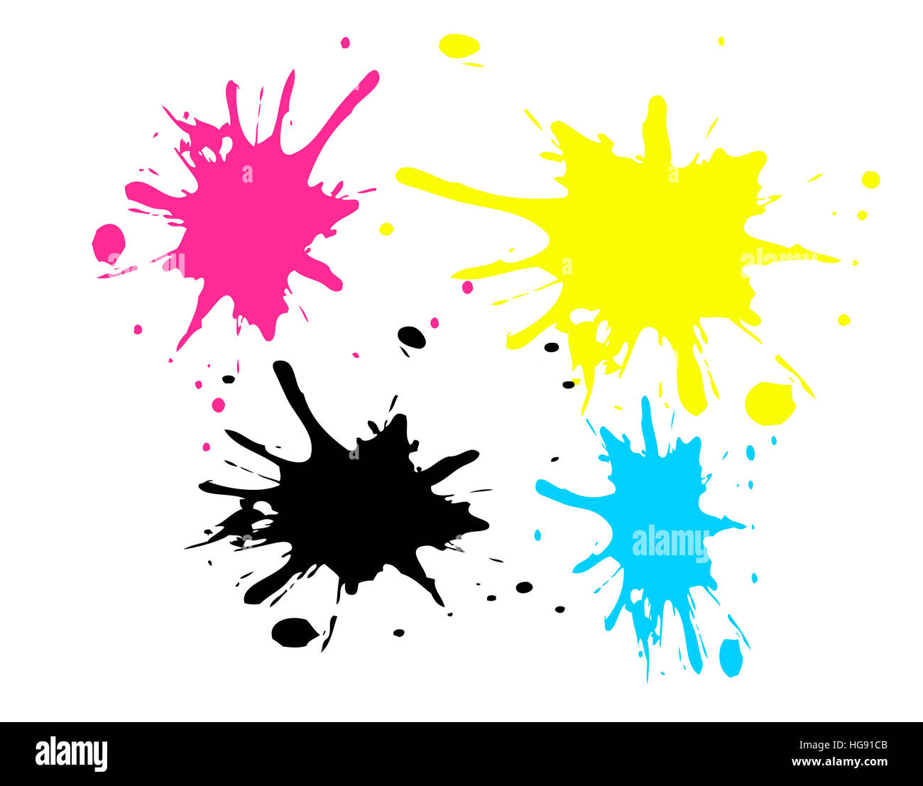 Colored spots with CMYK colors - Stock Image