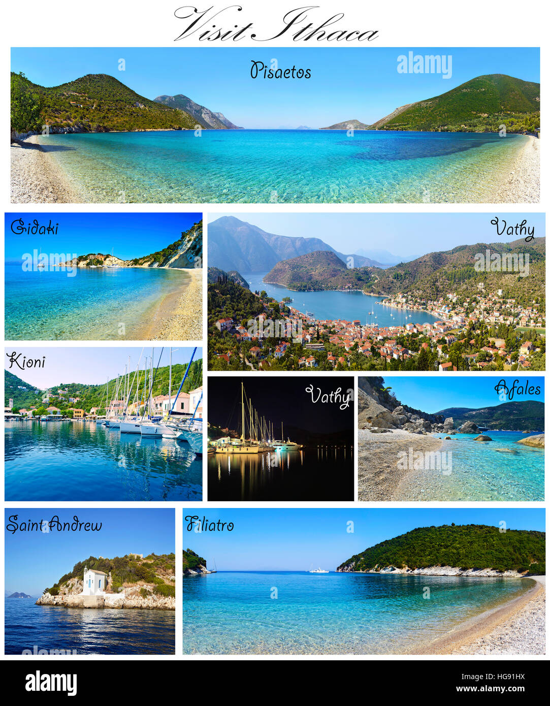 visit Ithaca collage Ionian islands Greece - Stock Image