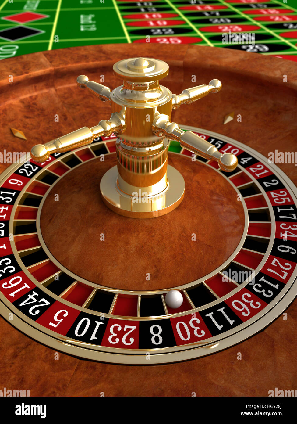 3d render of closeup detail from casino roulette - Stock Image