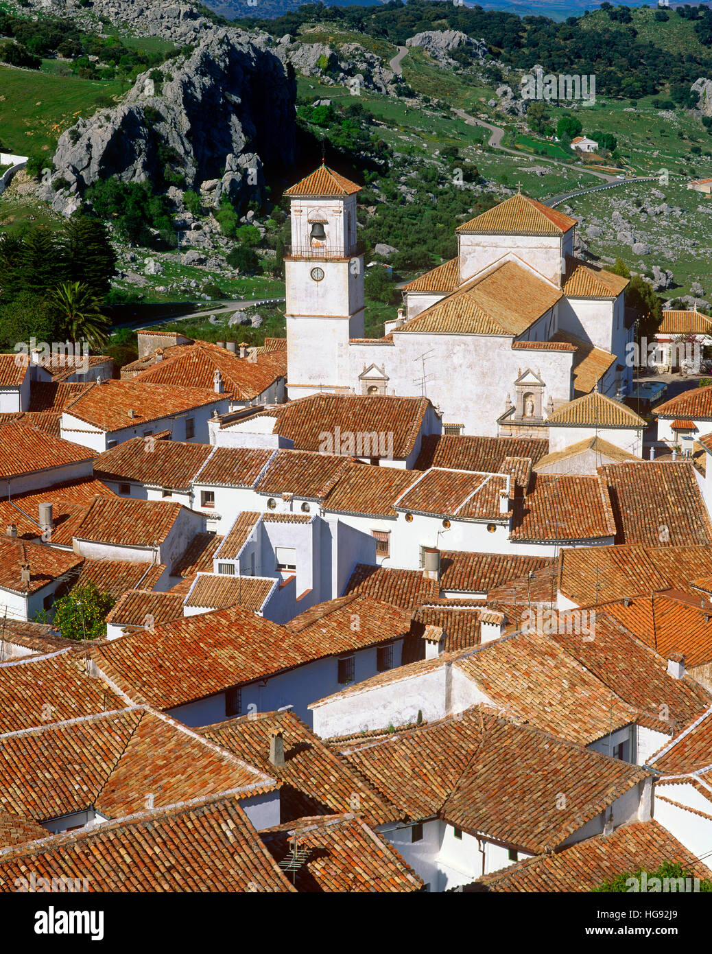 Red pantile roofs of Grazalema white village (Pueblos Blanco), Cadiz Province, Andalusia, Spain. - Stock Image
