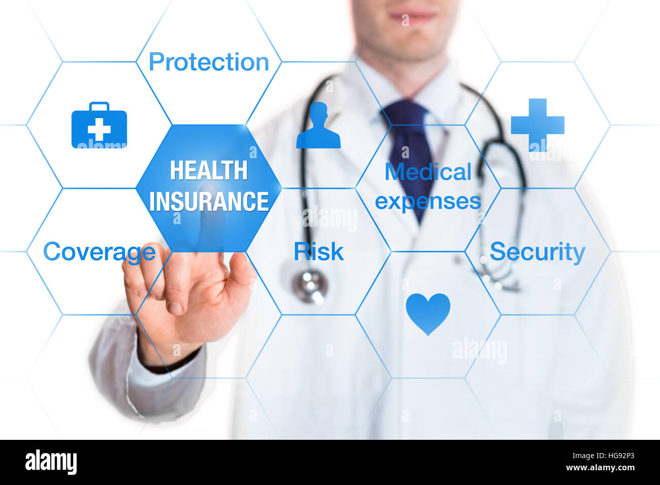 Health insurance concept with words coverage, protection, risk, and security on a virtual screen and a medical doctor - Stock Image