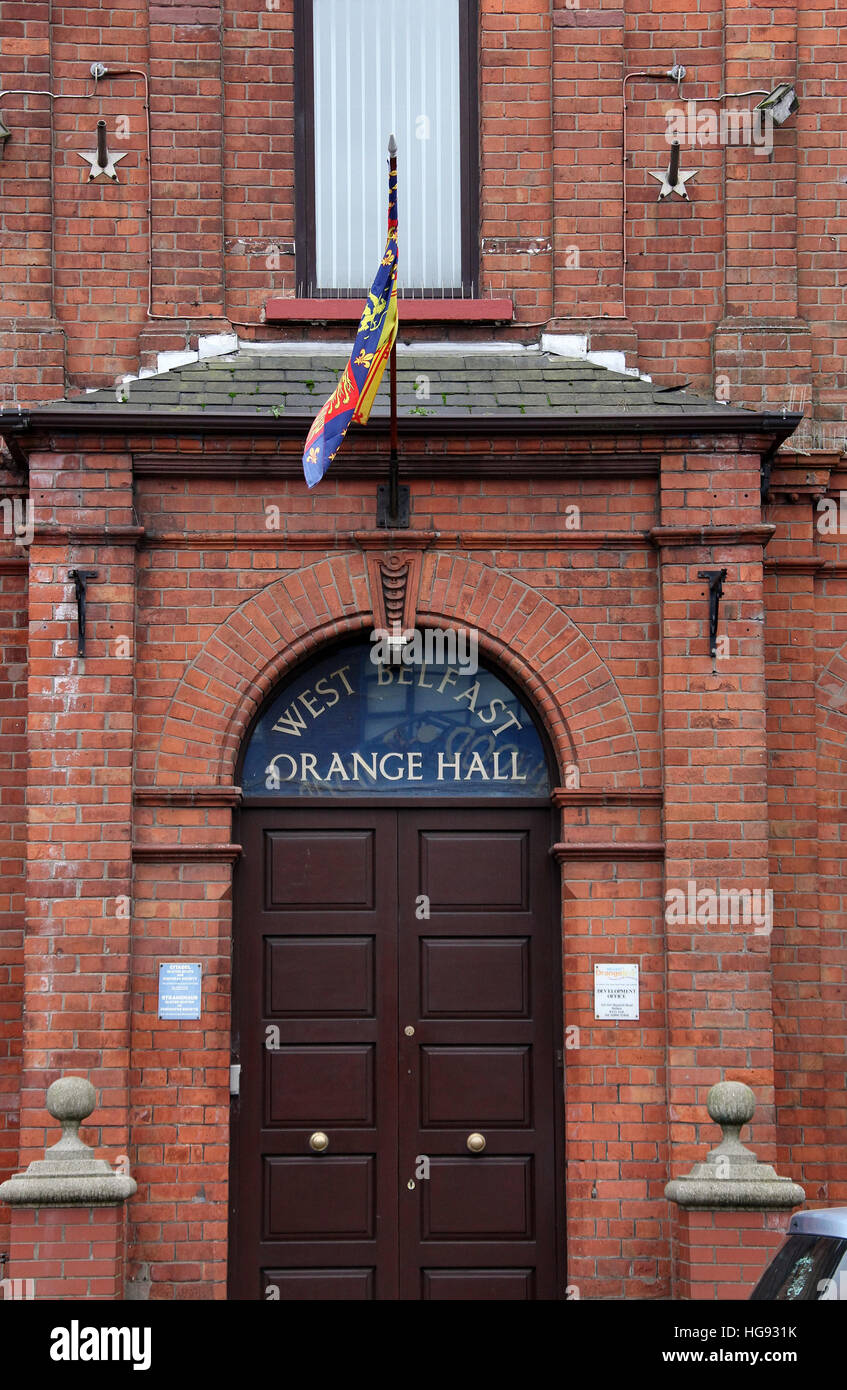 Orange Hall on the Shankill Road in West Belfast - Stock Image
