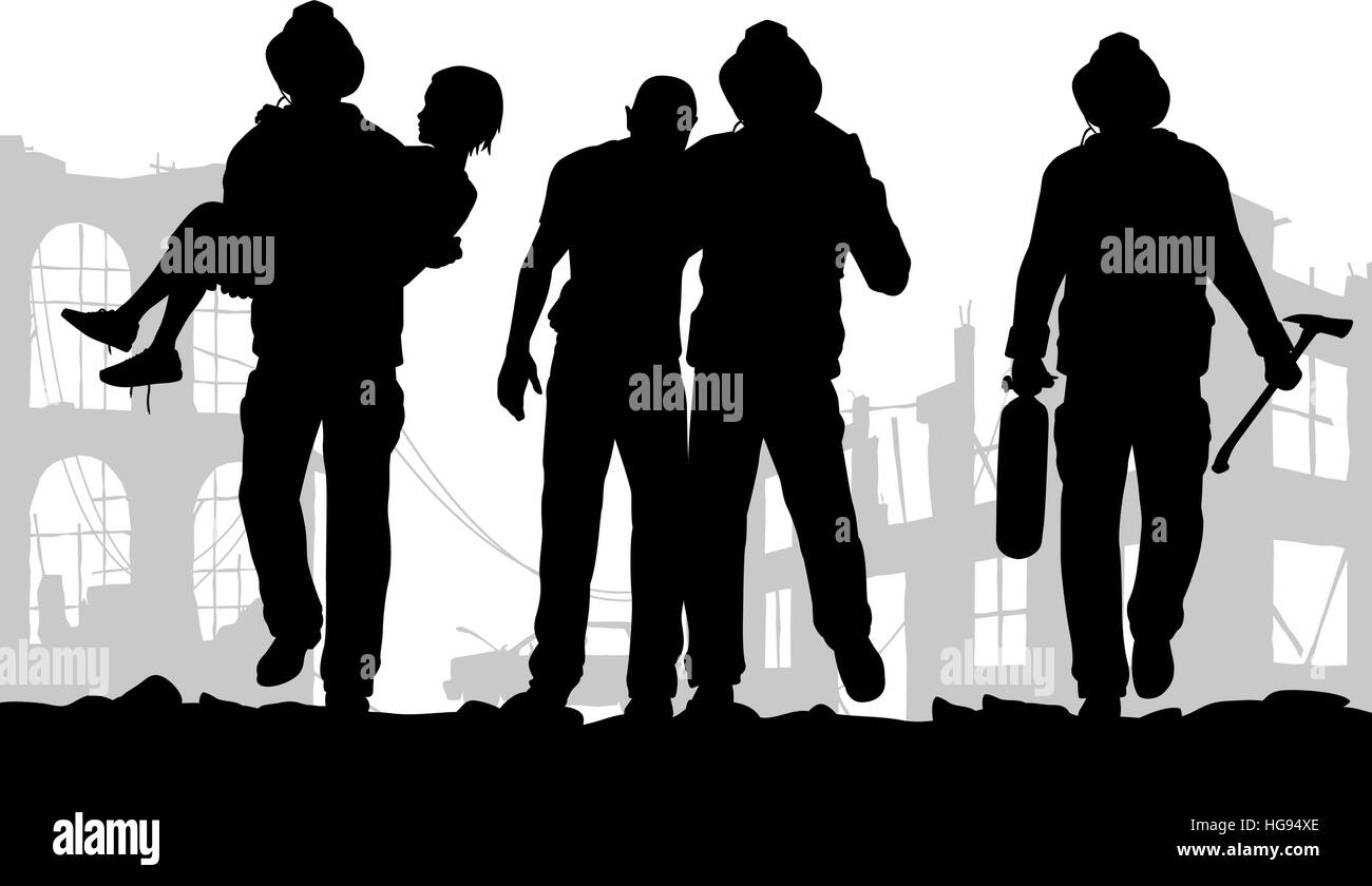 Vector illustration of firefighter silhouettes rescuing people from a fire disaster - Stock Image