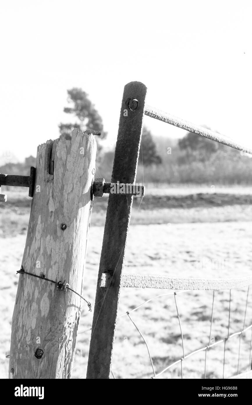 Old Fence Post Barbed Wire Black and White Stock Photos & Images - Alamy