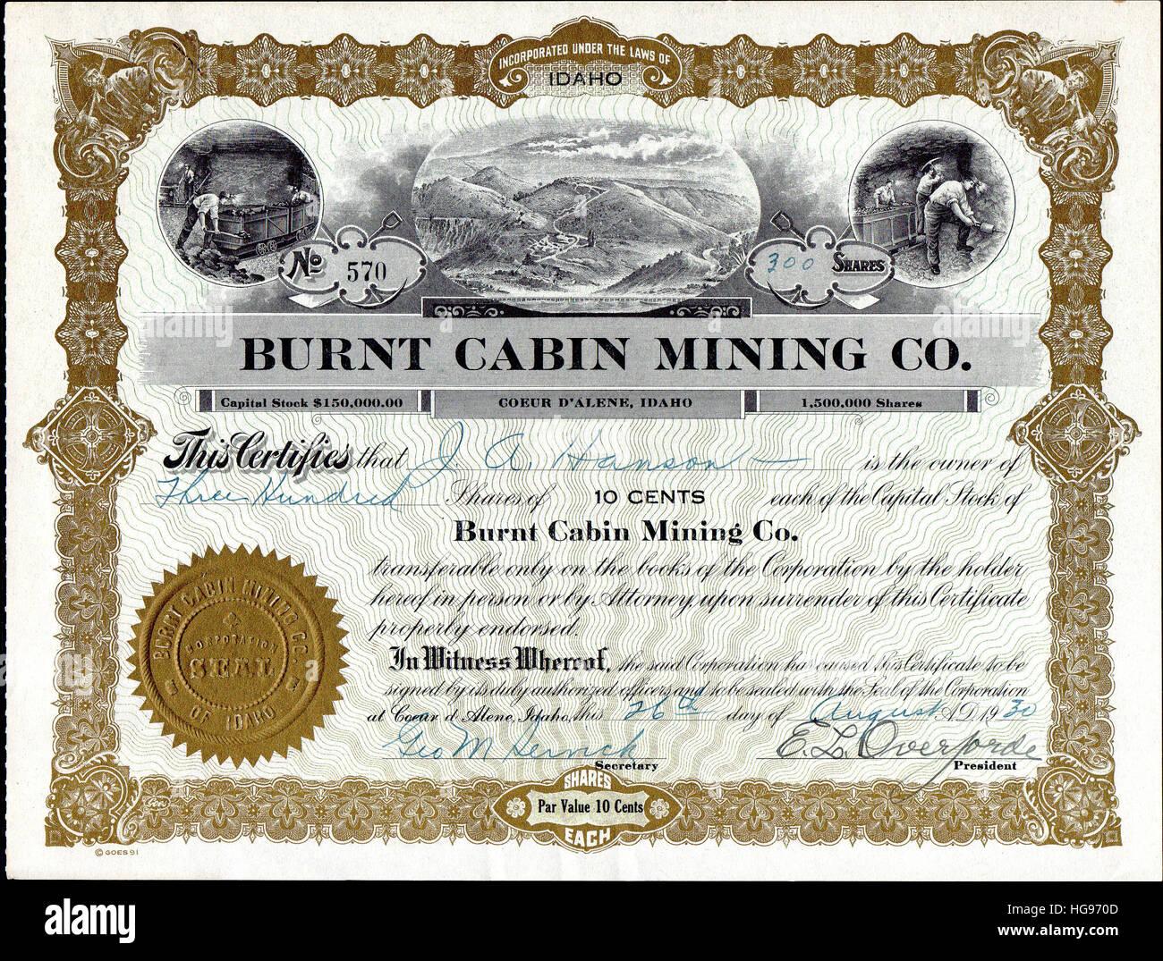 1930 Burnt Cabin Mining Company Stock Certificate - Burnt Cabin Creek - Kootenai County, Coeur D' Alene, Idaho - Stock Image