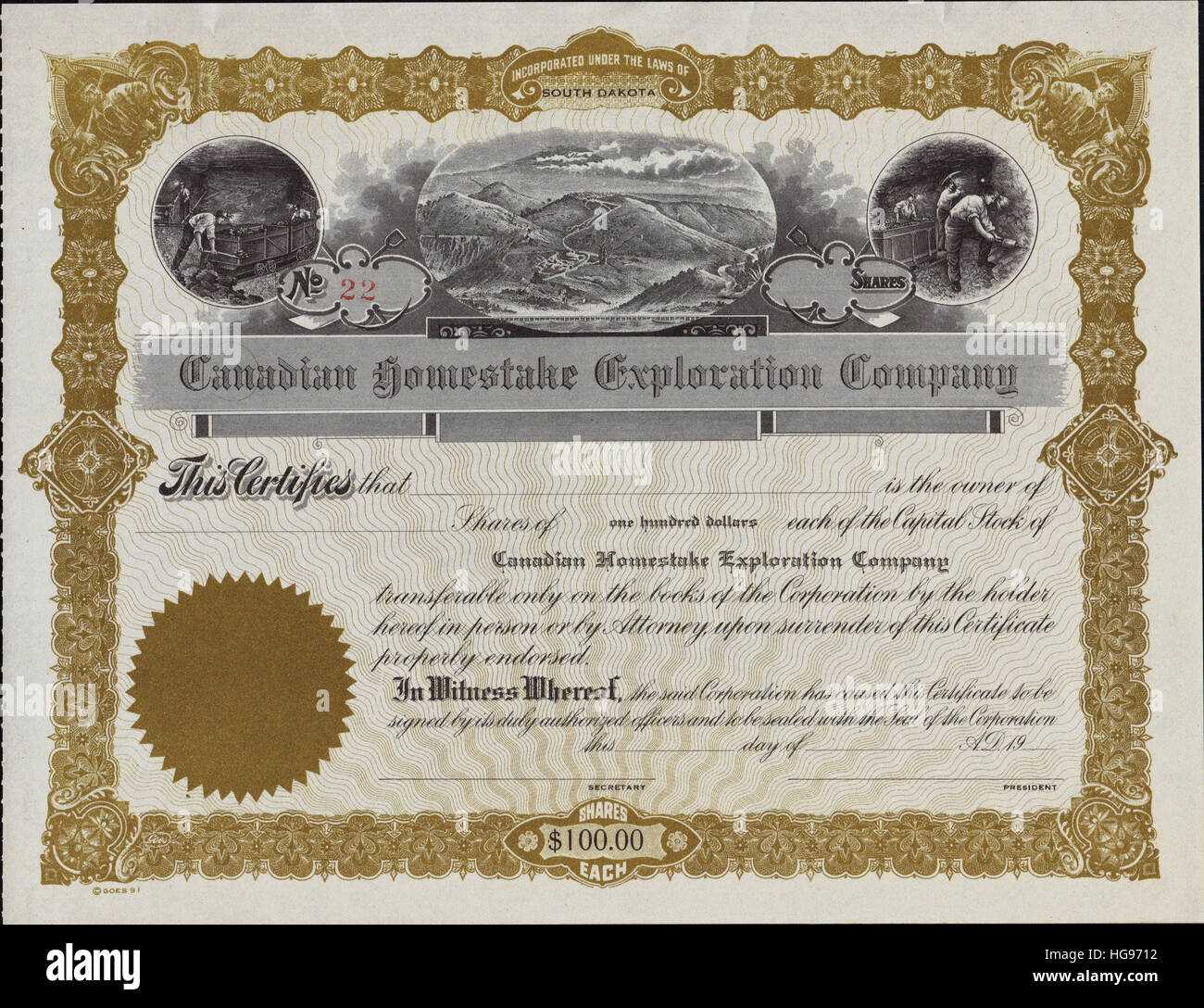 Early 1900s Canadian Homestake Exploration Company Stock Certificate - Incorporated in South Dakota - Stock Image