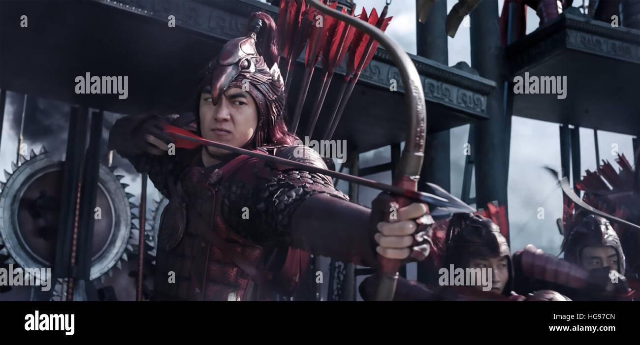 THE GREAT WALL 2016 Legendary East film with Kenny Lin - Stock Image