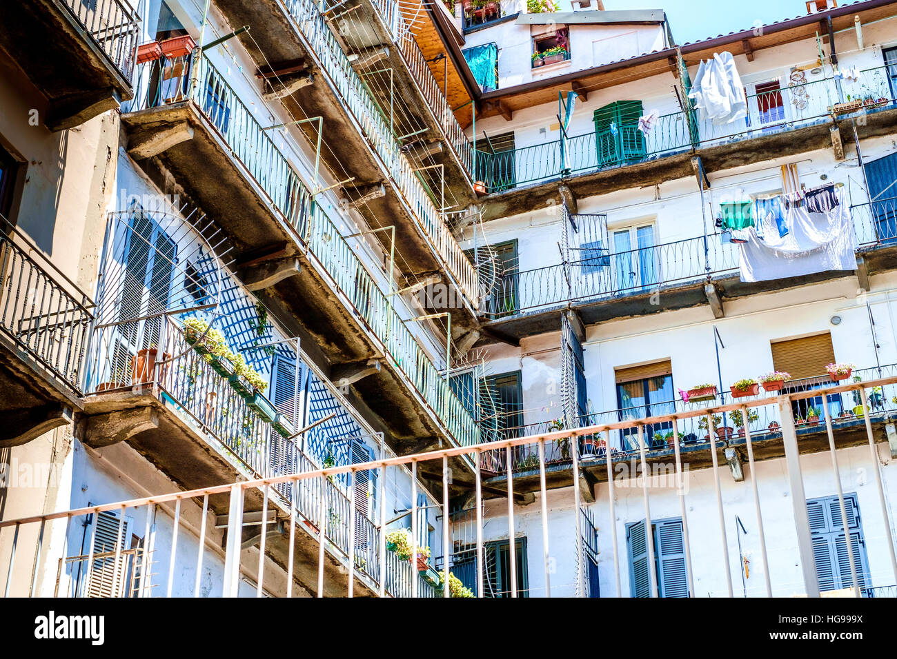 Typical North Italy condominium courtyard - Stock Image