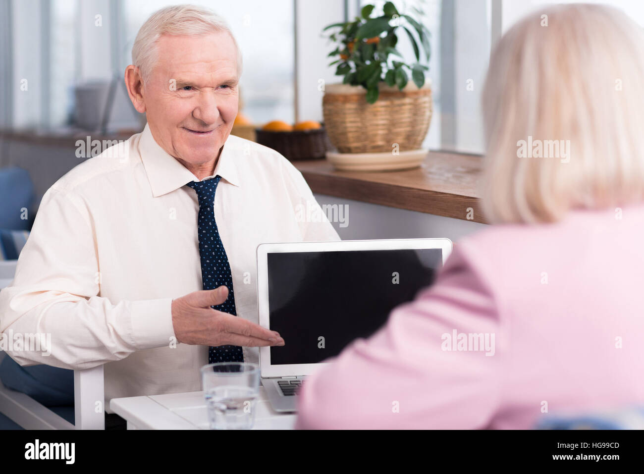Mature delighted executive showing his ideas - Stock Image
