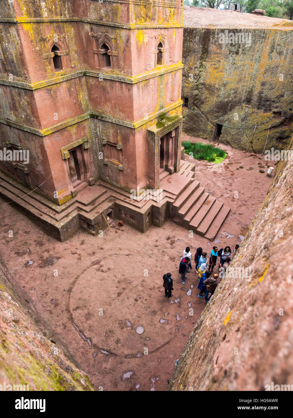 Church of Saint George (Bete Giyorgis), Lalibela, Ethiopia. Wide angle. - Stock Image