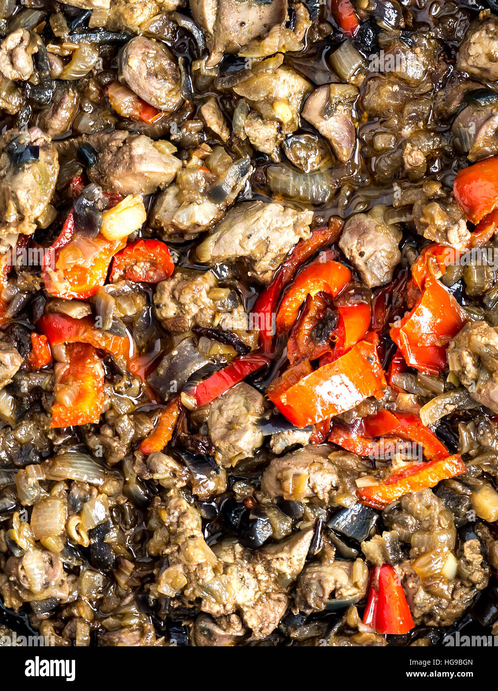 The fried chicken liver background. - Stock Image