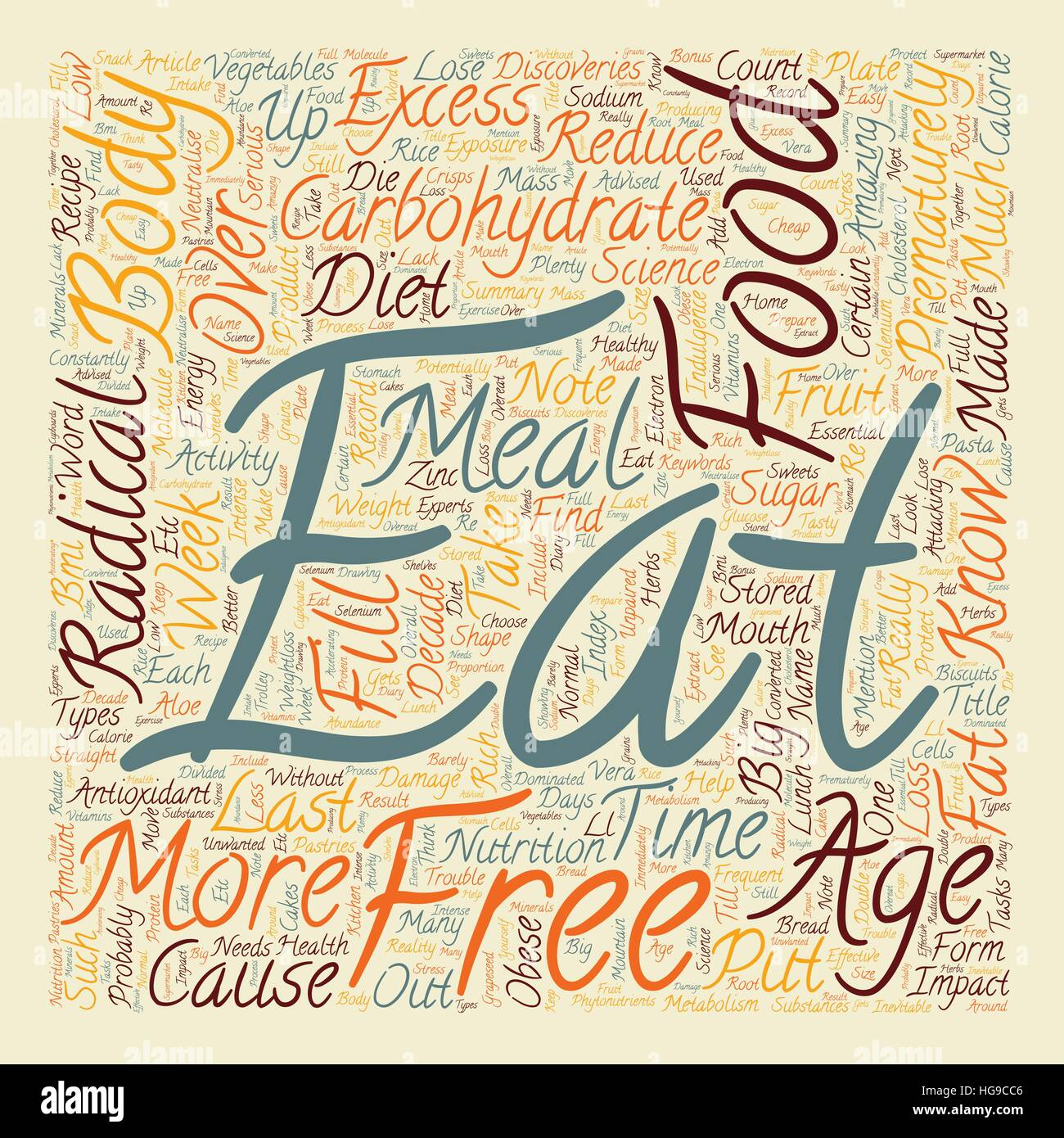 Your Food Can Prematurely Age You text background wordcloud concept - Stock Vector