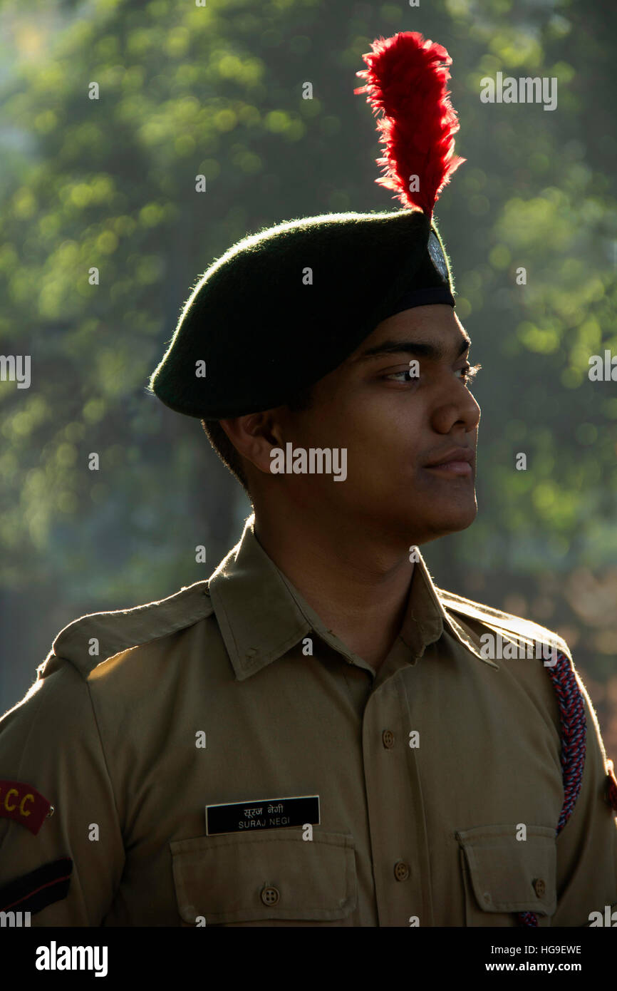 Portrait or close-up of NCC Cadet in early morning - Stock Image
