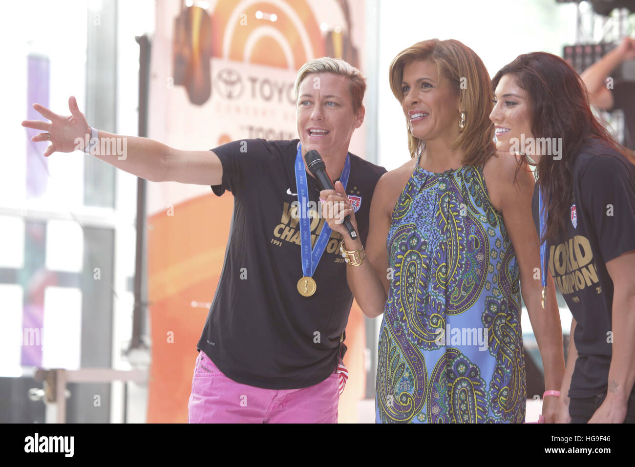 Hope Solo R And Abby Wambach Of The USWNT Appear On Today Show With Hoda Kotb C For An Interview Matt Lauer