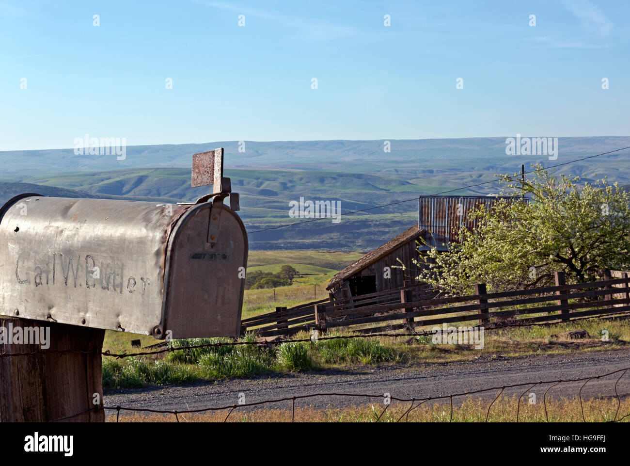WASHINGTON - Mailbox belonging to the last owner of the Dalles Mountain Ranch, now a part of Columbia Hills State - Stock Image