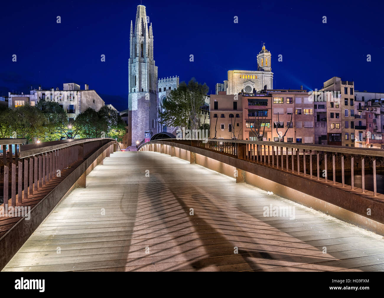 The Collegiate Church of Sant Feliu, Girona, Catalonia, Spain Stock Photo