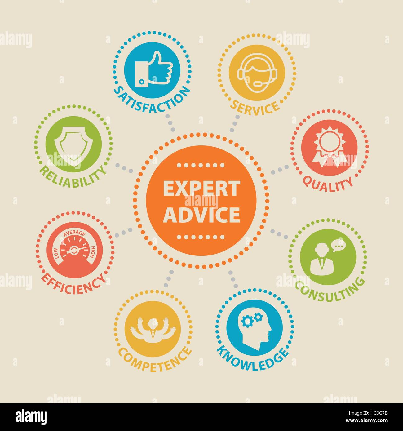 EXPERT ADVICE Concept with icons - Stock Image