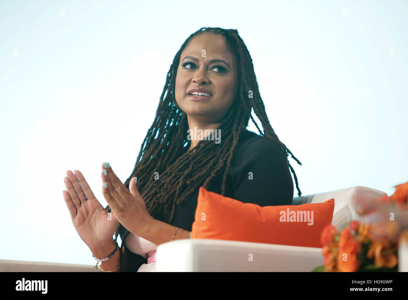 Ava DuVernay speaks during her keynote Q&A at #BlogHer15: Experts Among Us. - Stock Image