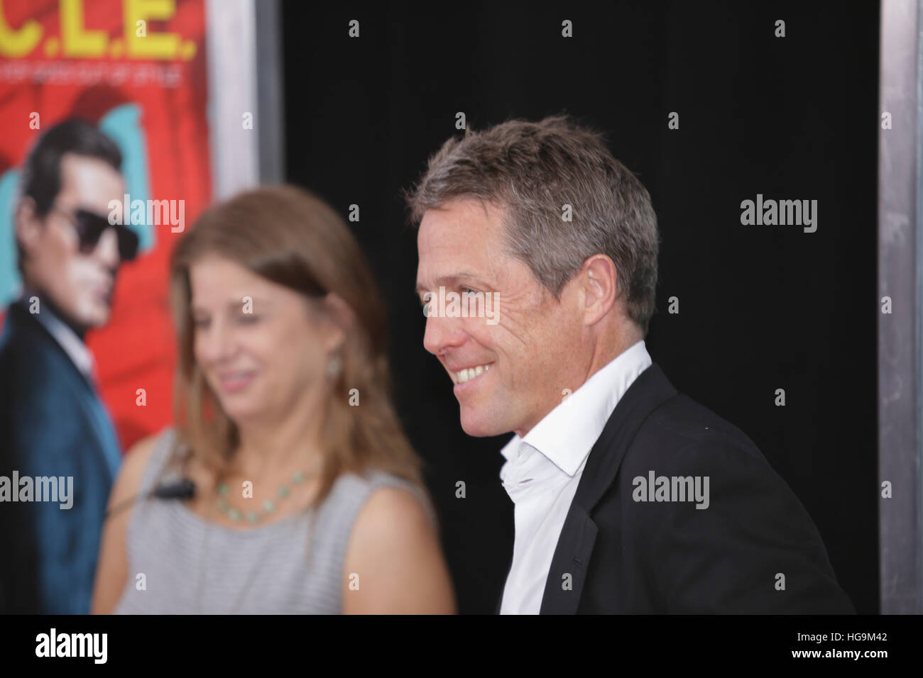 Hugh Grant arrives at The Man From U.N.C.L.E premiere at the Zigfield Theater in NYC. - Stock Image