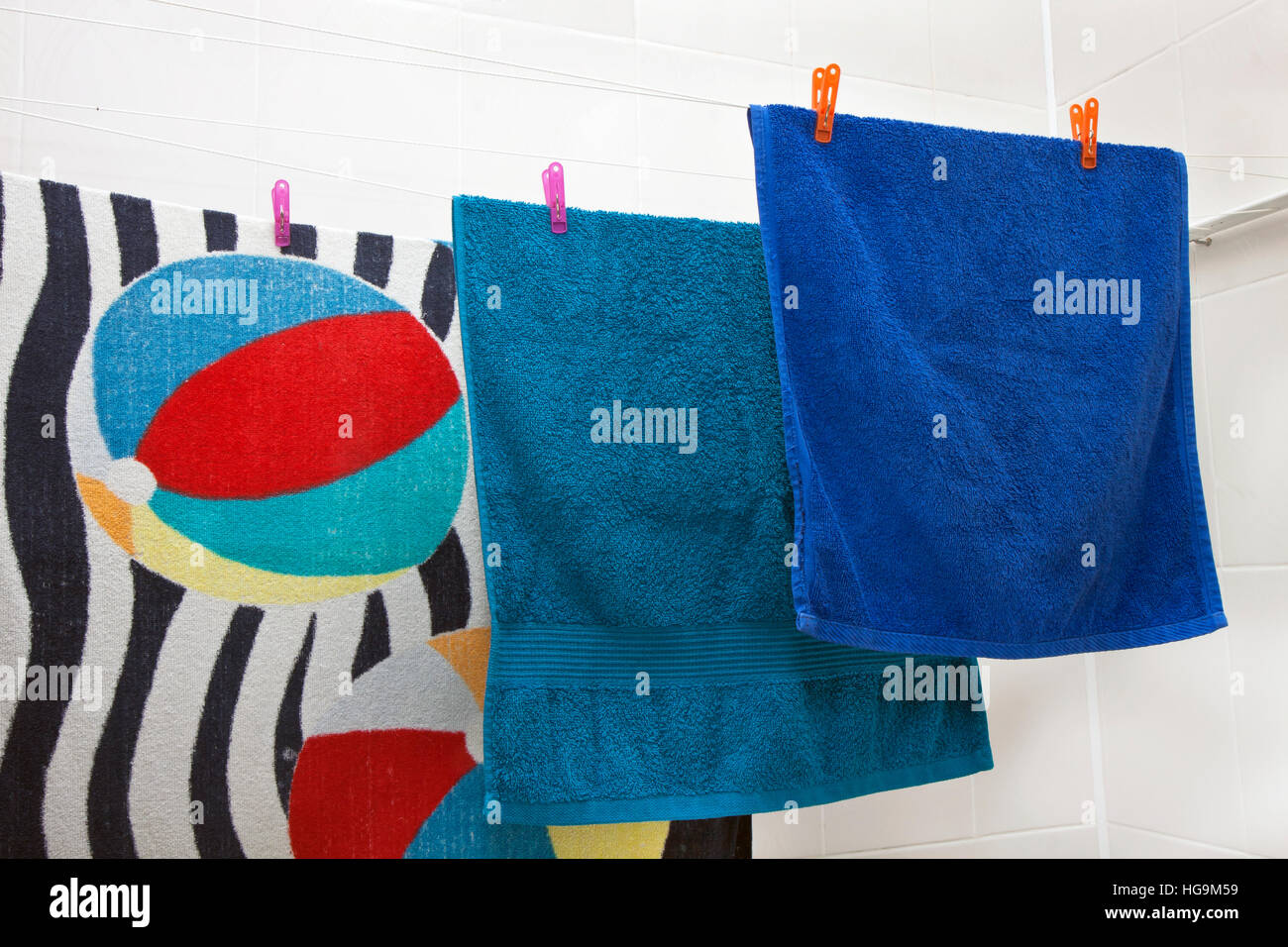 three towels drying on the clothesline Stock Photo
