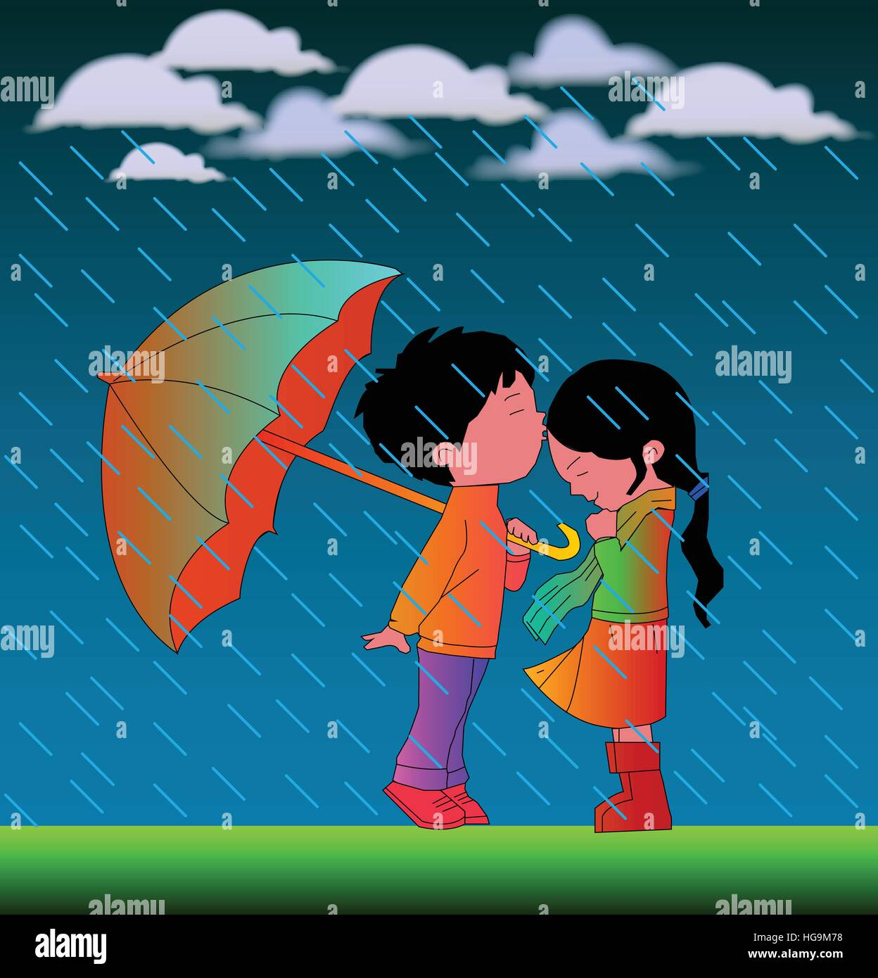 Romantic cartoon couple in rain vector illustration with nice background stock image