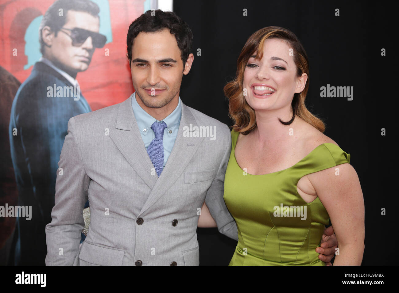 Laura Michelle Kelly, Zac Posen arrives at The Man From U.N.C.L.E premiere at the Zigfield Theater in NYC. - Stock Image