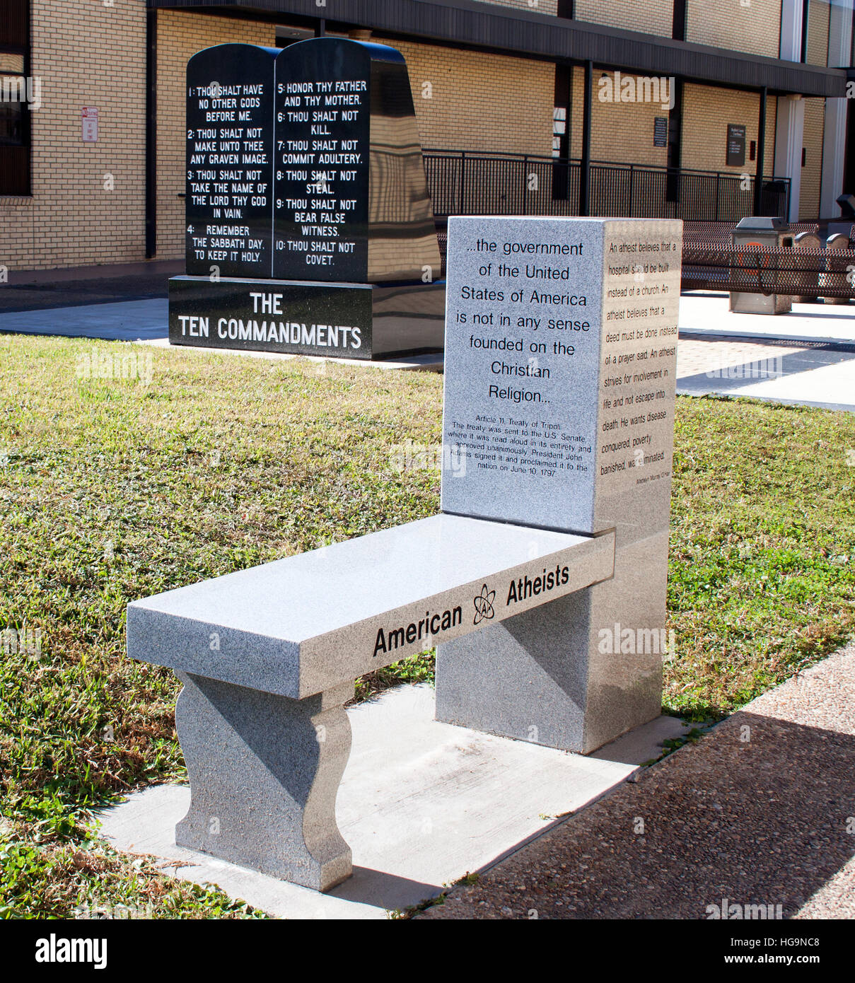 American Atheists monument bench in Starke Florida - Stock Image