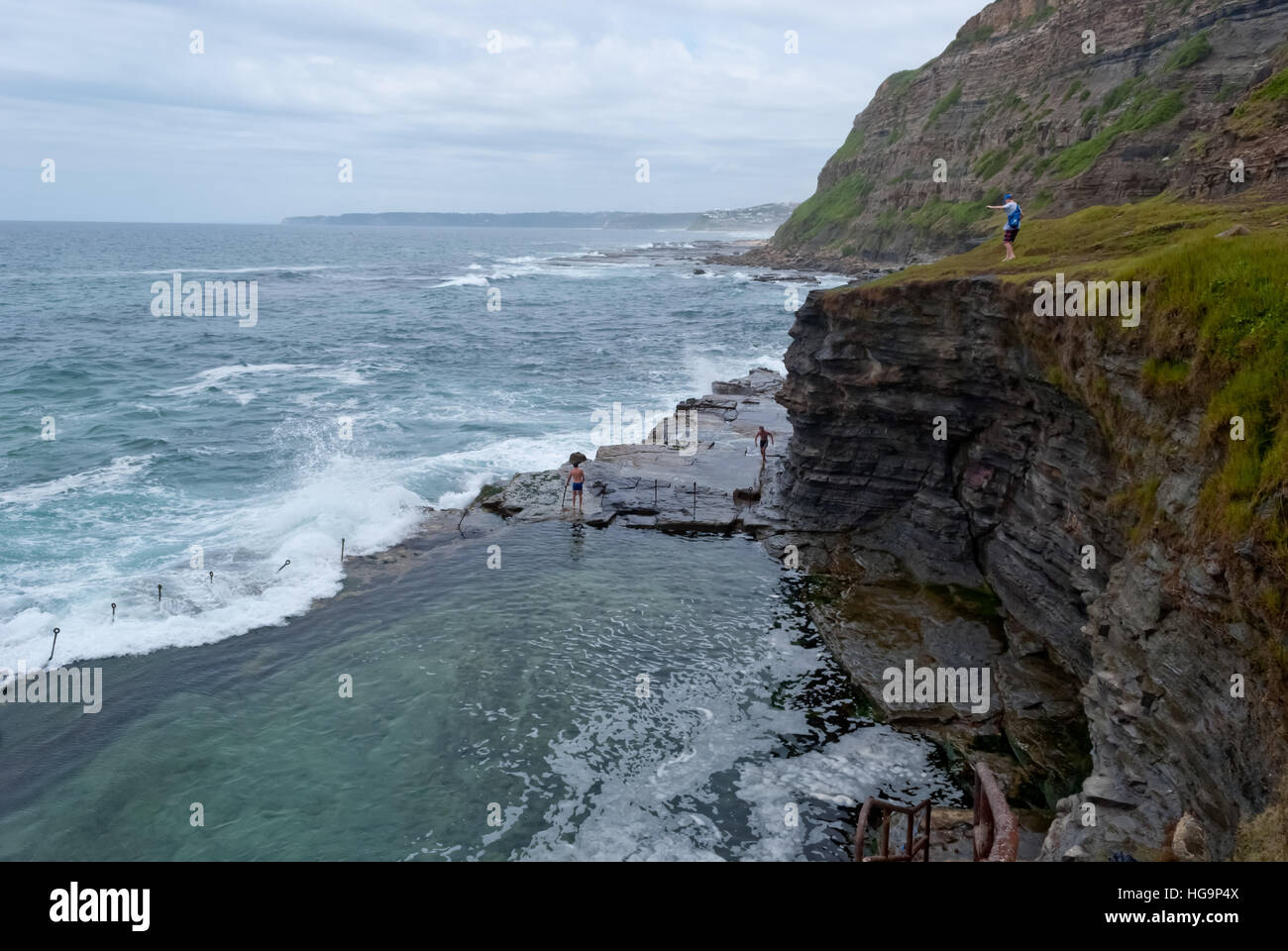 Newcastle cliffs and coast, Australia - Stock Image