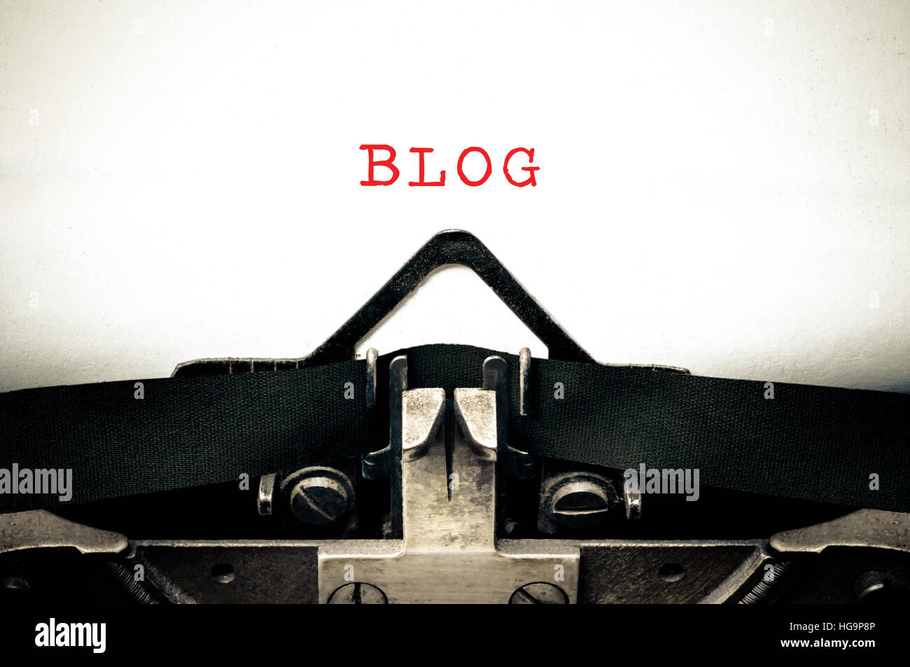 Typewriter written message with the word blog - Stock Image