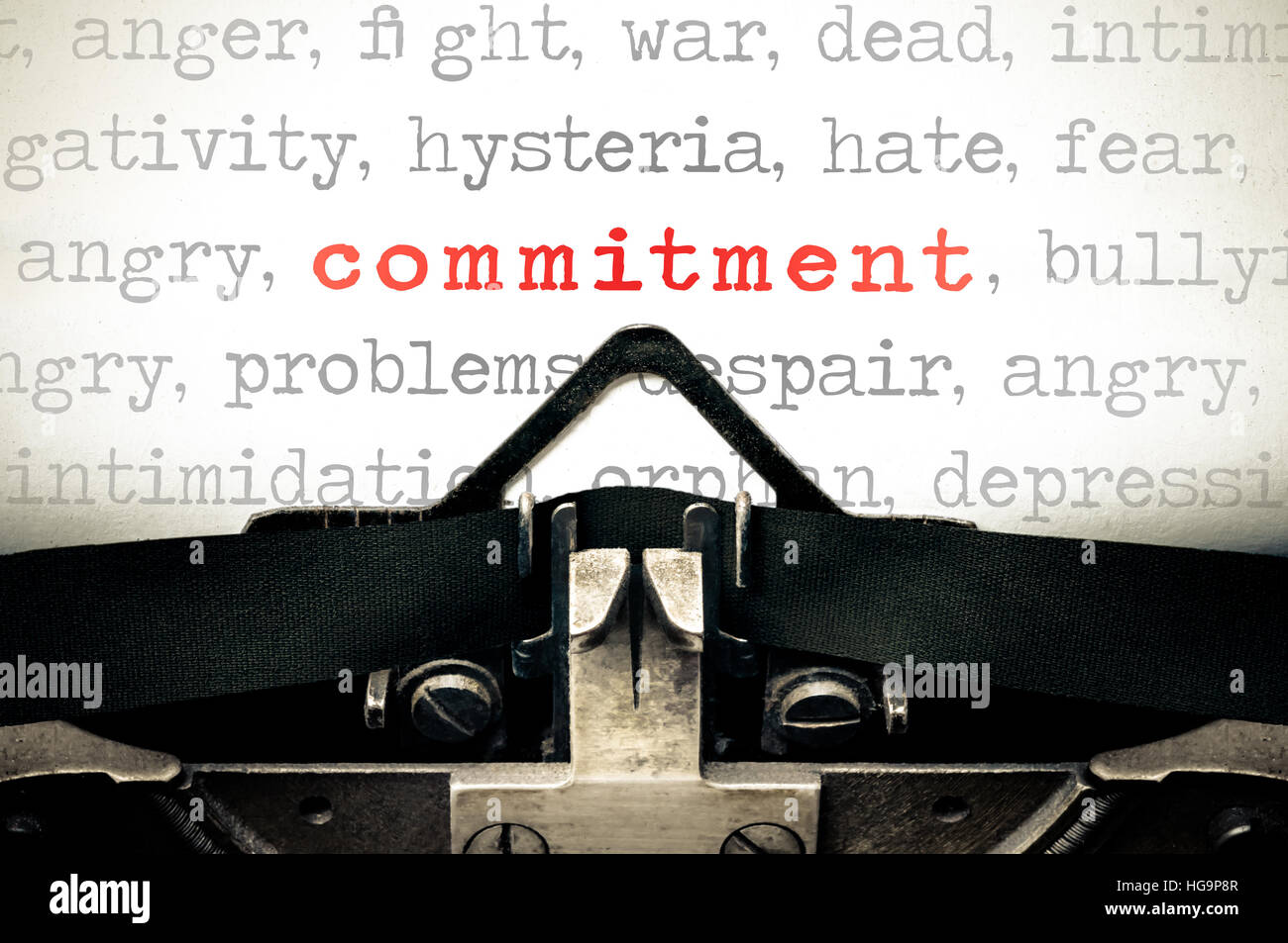 Typewriter written message with the word commitment - Stock Image