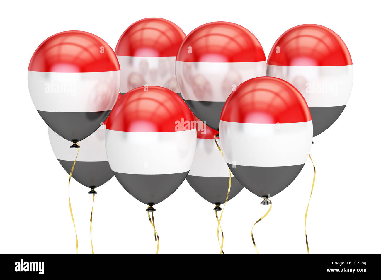 Balloons with flag of Yemen, holiday concept. 3D rendering isolated on white background - Stock Image