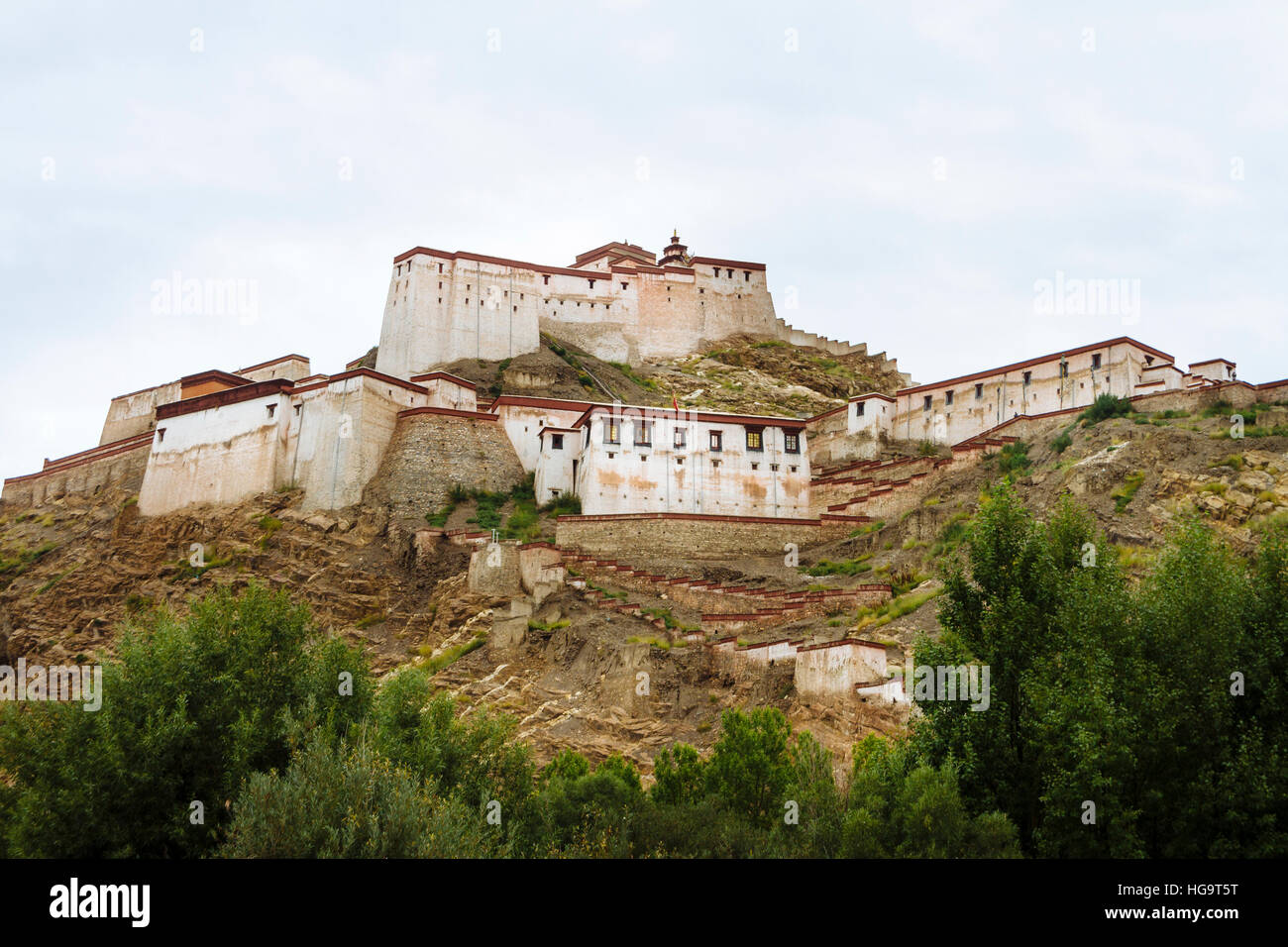 The view of the Great Gyantse Castle in the daytime. - Stock Image