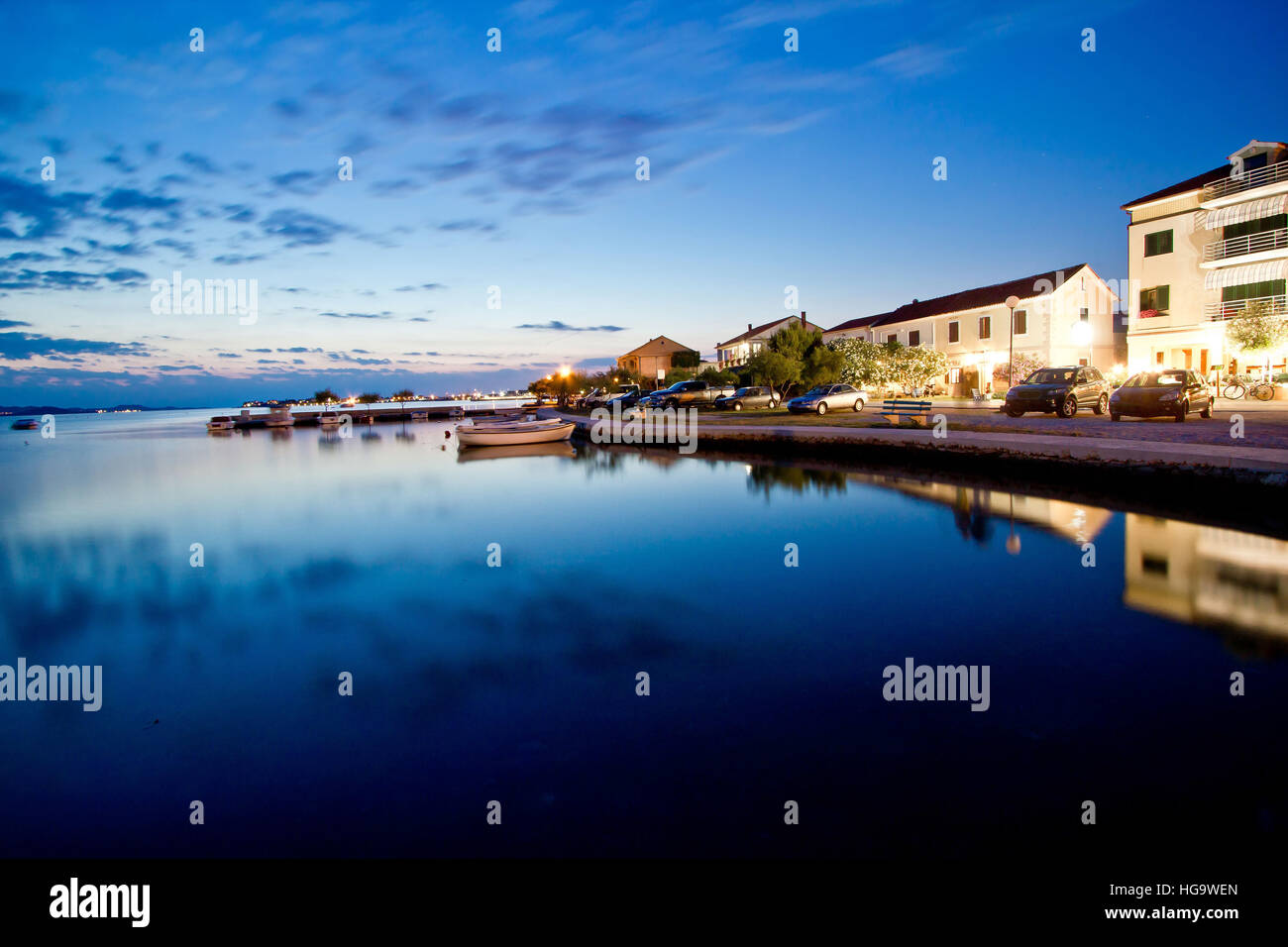 Sukosan waterfront calm sea evening view in Dalmatia, Croatia - Stock Image