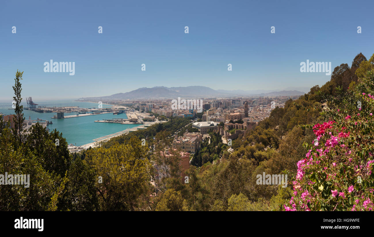 Malaga, Malaga Province, Costa del Sol, Andalusia, southern Spain.  Overall view towards city centre from the National Stock Photo