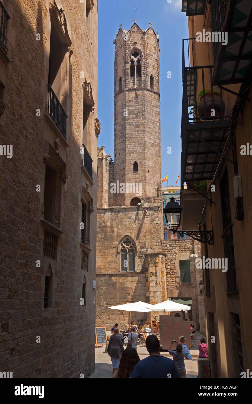 Barcelona, Spain.  Capella Reial de Santa Àgata.  Royal Chapel of Saint Agatha, in the Plaça del Rei. - Stock Image
