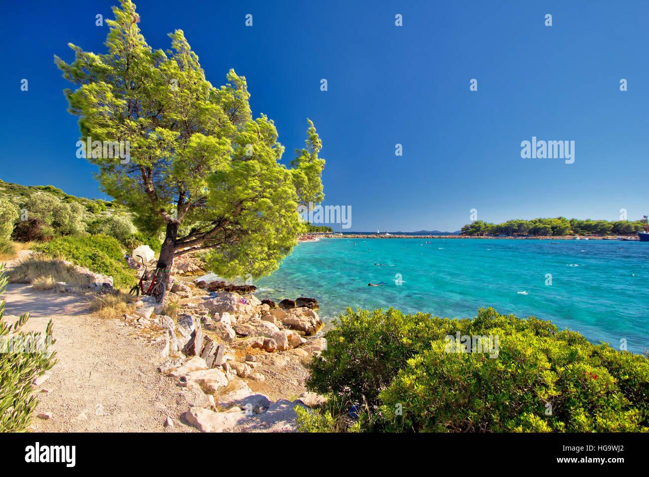 Idyllic turquoise beach in Croatia, Island of Murter, Dalmatia region - Stock Image