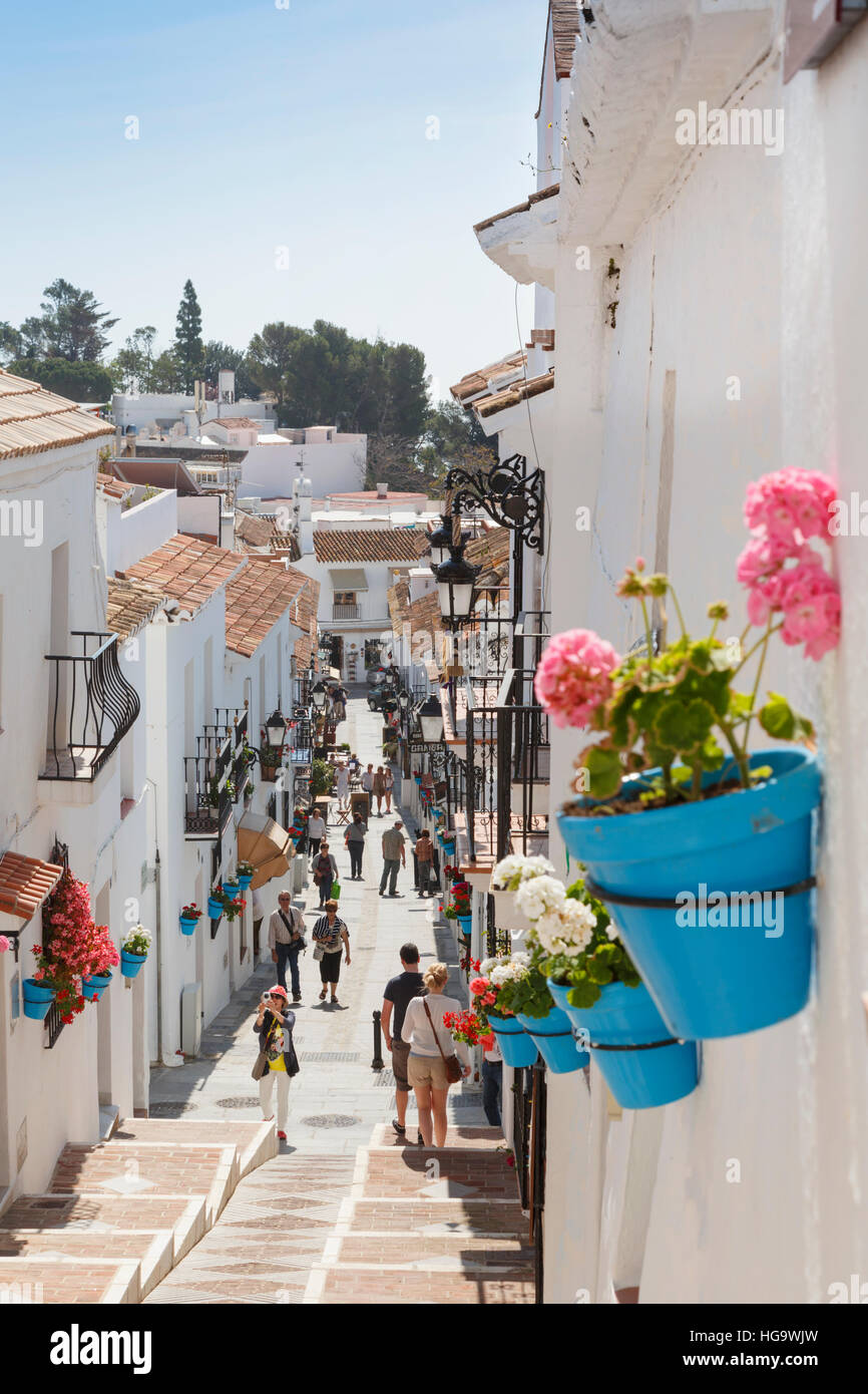 Mijas, Costa del Sol, Malaga Province, Andalusia, southern Spain.  Typical whitewashed mountain town.  Popular tourist - Stock Image
