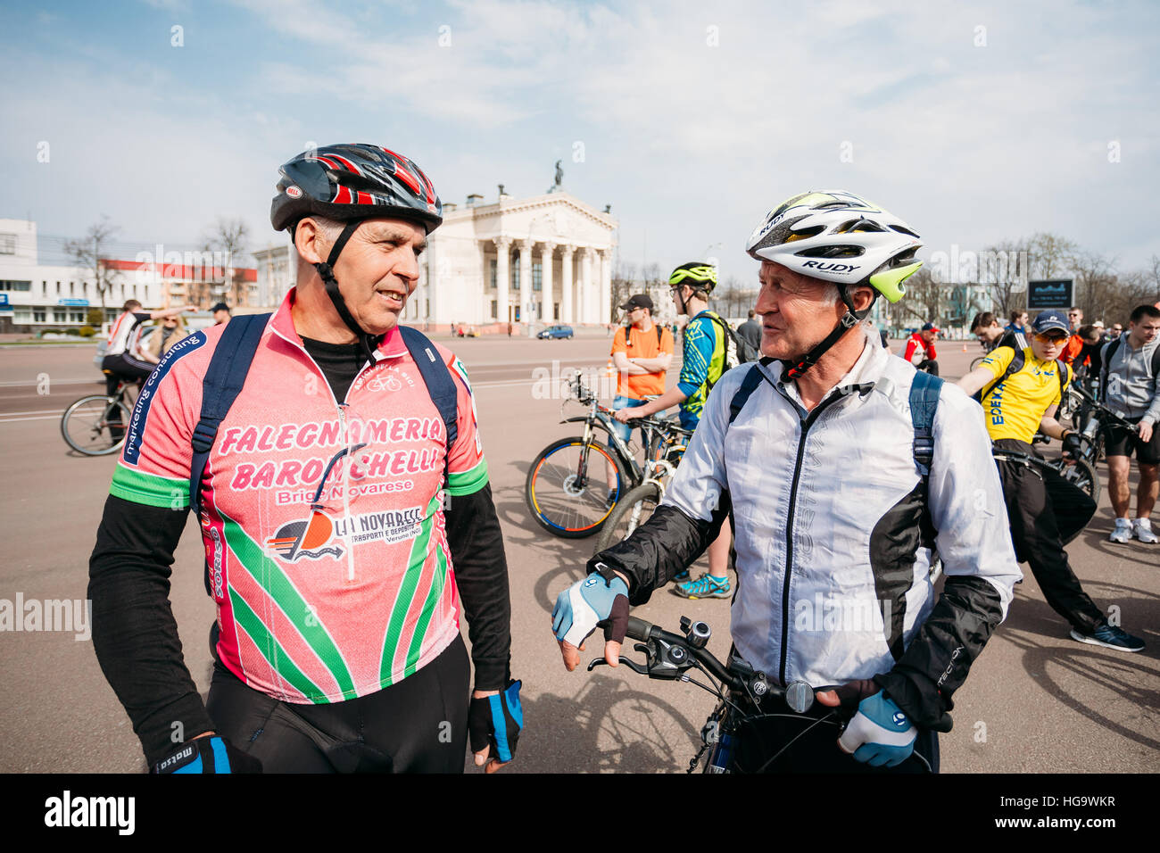 Gomel, Belarus - April 10, 2015: Older men cyclists in sportswear for cycling at opening of the cycling season in - Stock Image